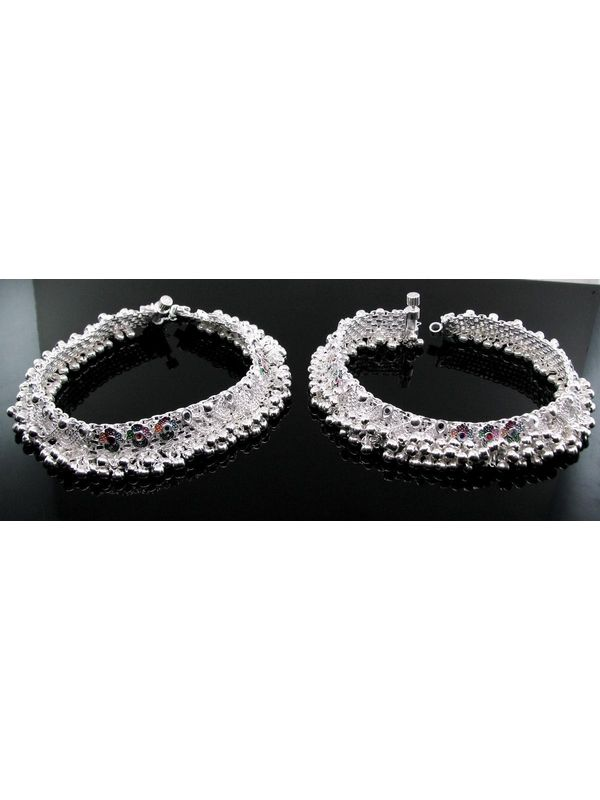 Designer Ethnic Indian Silver Jewelry Anklets Pajeb Pair 10 2