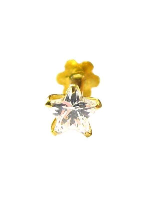 Star Shape Diamond Nose Screw Stud Piercing Ring Pin 14k Yellow Gold Over Fashion Jewelry Body Jewelry