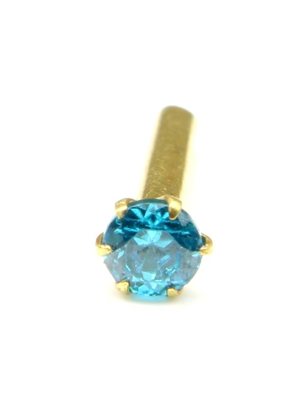 fc354b601 Single stone Nose stud 14K yellow gold Blue CZ piercing nose ring Push Pin.  Zoom · Single ...