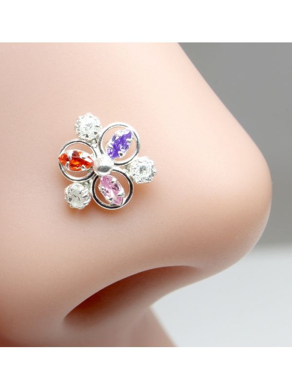 Ethnic Indian 925 Sterling Silver Multi-color CZ Studded Corkscrew nose ring 22g