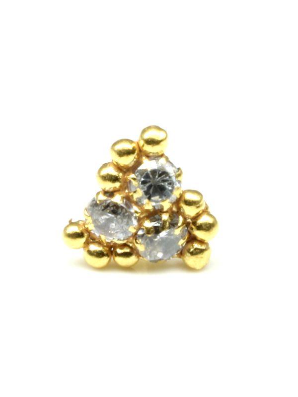 3e3191e0f6e 22K Gold filled Indian Nose Stud, White CZ push pin piercing nose ring.  Zoom · 22K ...