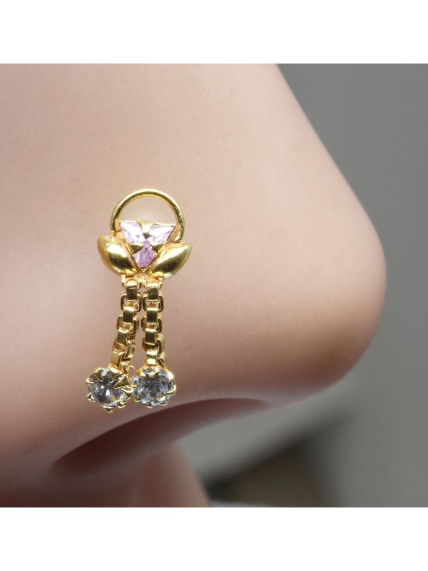 796183cbe16 22K Gold filled Indian Nose Stud, Pink White CZ push pin piercing nose  ring. Zoom · 22K ...