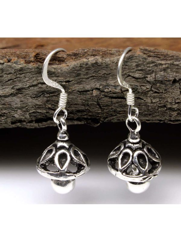 Traditional Indian Jhumka Dangle 925 Sterling Silver Fish Hook Earrings
