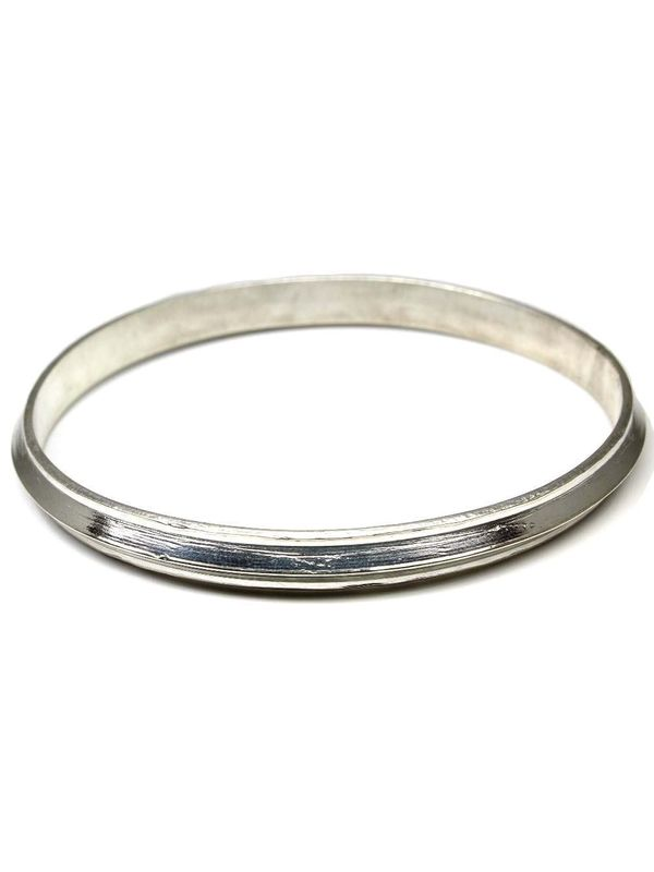 Pure Silver Mens Soild Kara Bangle Bracelet 6 8cm