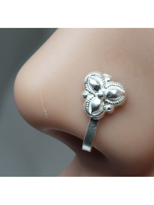 Sterling Silver 2.8mm Round CZ Crystal Nose Stud L Pin