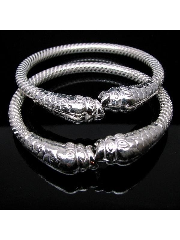 Lion Face Ethnic Indian Pure Silver Bangles Bracelet Jewelry Pair ...