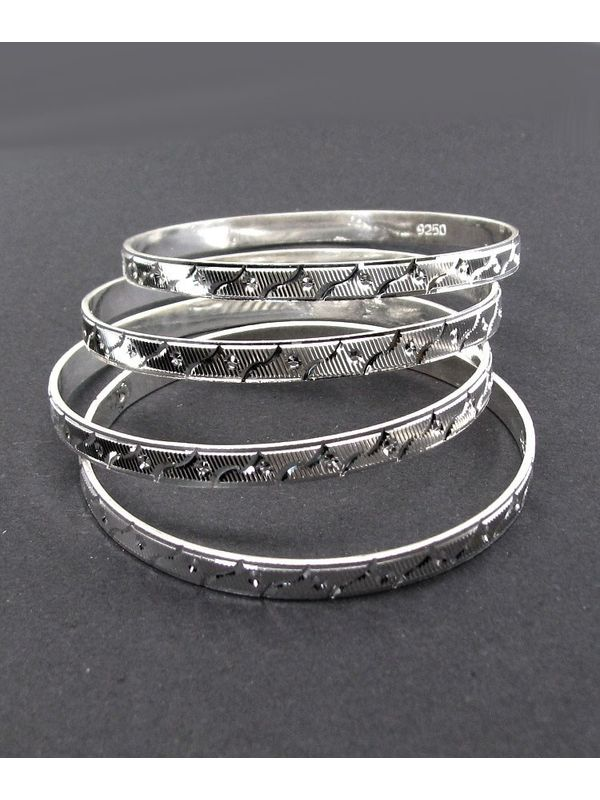 grams bangle bangles jewellery triple russian heavy silver sterling gram