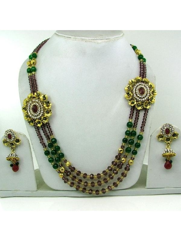 Ethnic Indian Designer Polki Ruby Beads Emerald Necklace