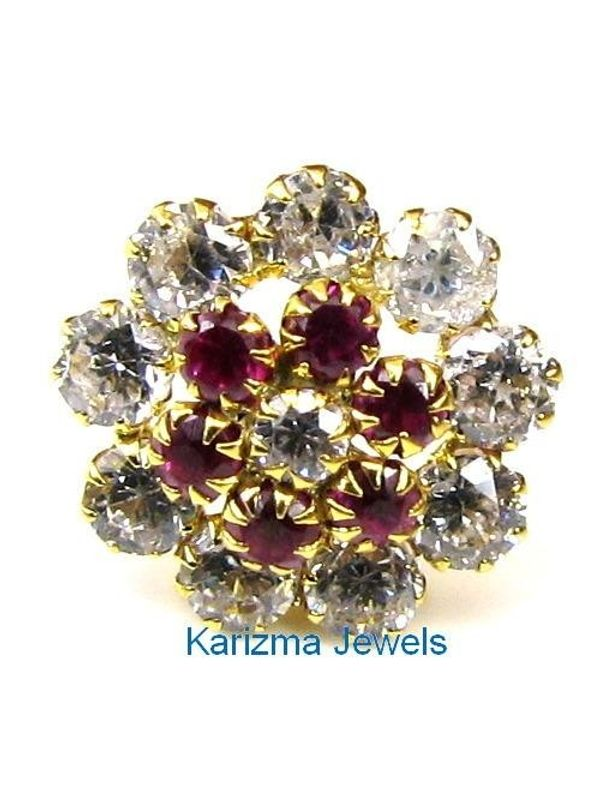 73272898917 Indian Style Designer Pink & White CZ Body Piercing Jewelry Nose stud Pin  ...
