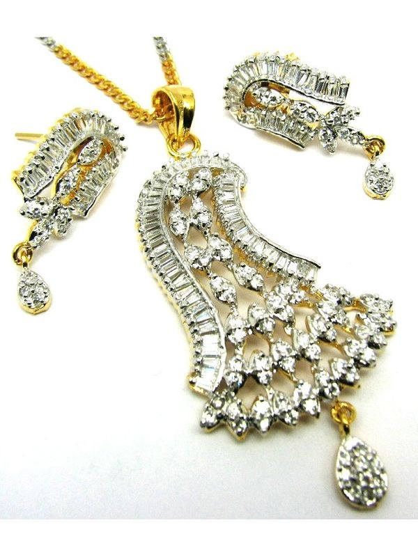 Two tone cz simulated diamond pendant earrings set free chain mozeypictures Gallery