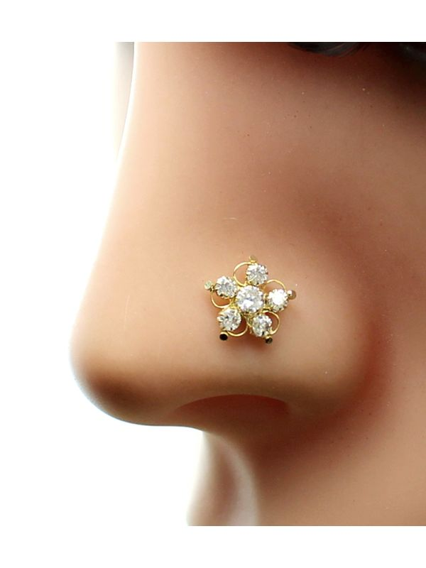 Real Gold Nose Stud 14k Ethnic White Cz Indian Nose Ring Push Pin