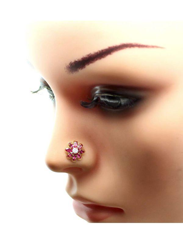 Real Gold Nose Stud 14k Ethnic Pink White Cz Indian Nose Ring Push Pin