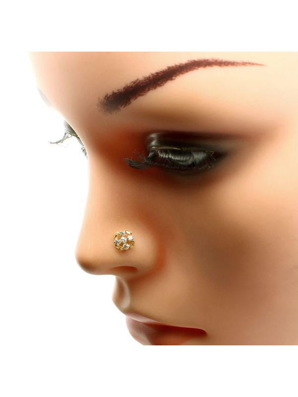 Real Gold Nose Stud 14k Ethnic Floral White Cz Indian Nose Ring Push Pin