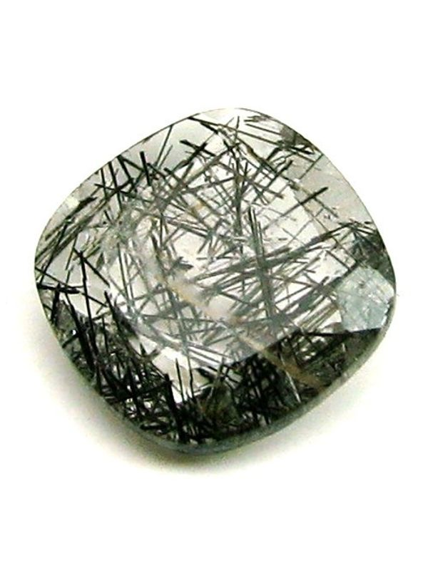 3ct Natural Black Needle Rutile Quartz Cushion Cut Gemstone