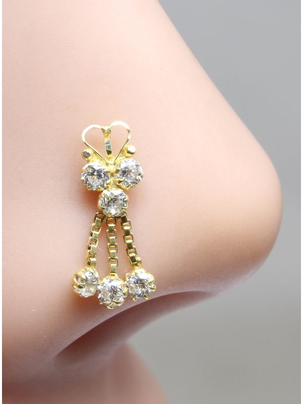 Real Gold Nose Stud 14k Yellow Gold Dangle Style Piercing Push Pin Nose Ring 18g