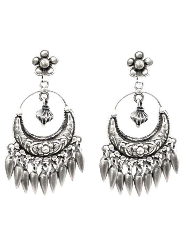 c6d1b87b11198 Antique Tribal long India design 925 silver Boho Dangle earrings