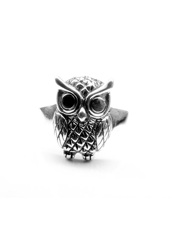 770ee25ef Owl Head Punk Oxidized 925 Sterling Silver Unisex Ring