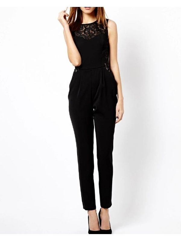 Euro Lace Hollow-out Neck& Side Women Jumpsuits
