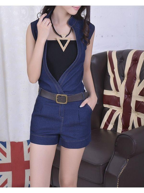 Dark Blue Sleeveless Stand Collar Pocket Denim Jumpsuit