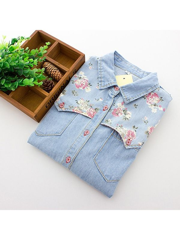 1baf3ef710 Long Sleeve Lapel Denim Floral Printed Shirt Top