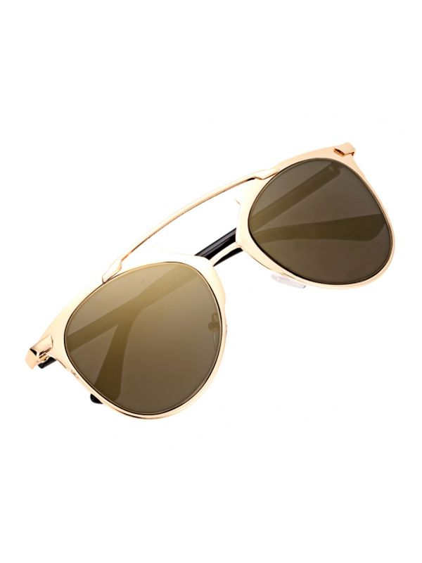 Vintage Style Double Beam Gold Green Lens Sunglasses