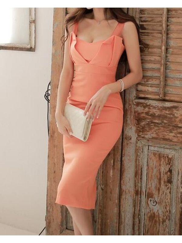 Pretty Peach Elegant Dress