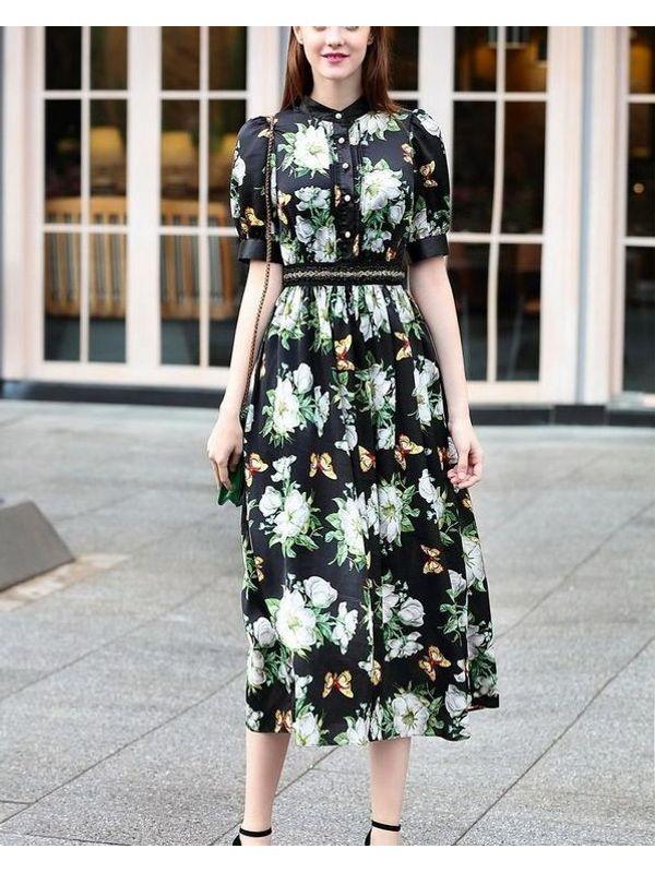 6a357ac25ff3 Exquisite Bohemian Style Floral Maxi Dress