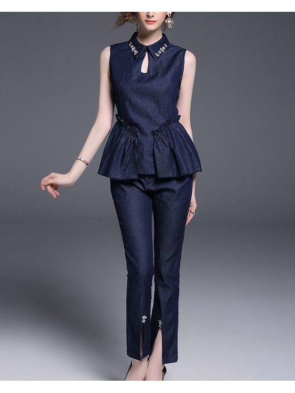 Exquisite Denim Set Sleeveless Top With Pant