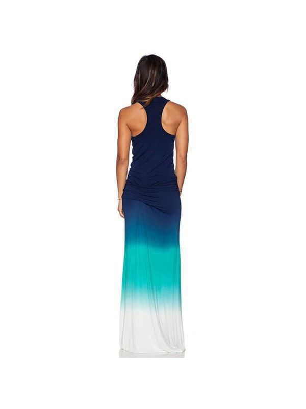 Summer Gradient Color Block Racer Back Beach Maxi Dress