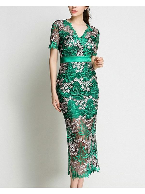 Embroidered V Neck Green Lace Evening Dress