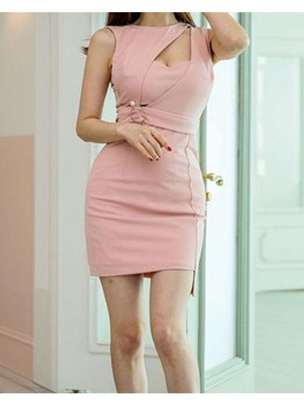 New Design Pierced Pink Short Dress