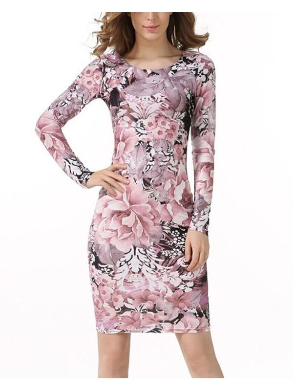 Pink & Black Combi Floral Long Sleeve Pencil Dress
