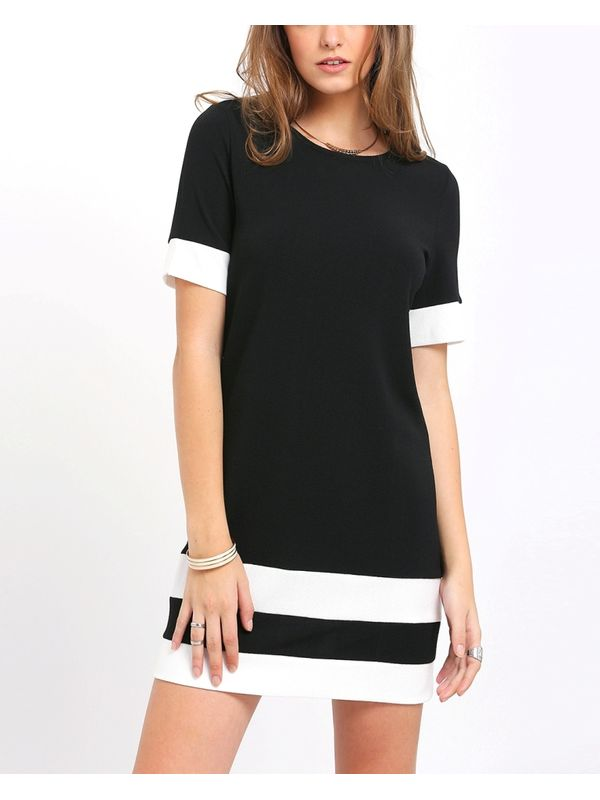 103520a6fb Sassy Black White Patchwork Short Sleeve Shift Dress ...