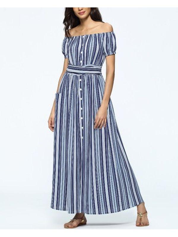 519dc2afc05 Summer Boat Neck Stripe Slit Long Maxi Dress