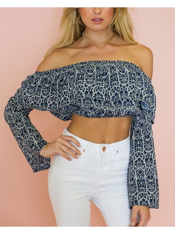 Hot Selling Print Strapless Boat Neck Cropped Top