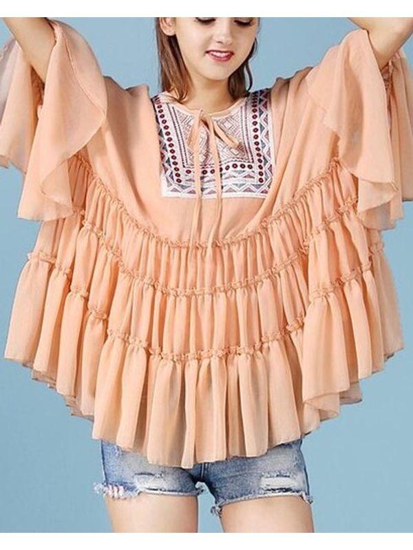New Ruffle Embroidery Chiffon Blouse | Ssw7ncmk082236oa