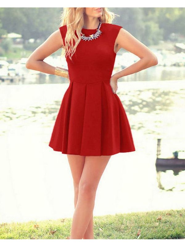Cute Solid Pleated ALine Sundress