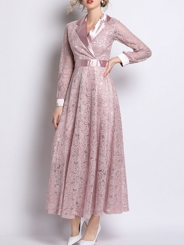 2e43e86f4d0b Beautiful Lace Lapel Pink Maxi Dress