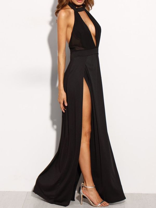 Black Halter Backless Cut Out Slit Dress