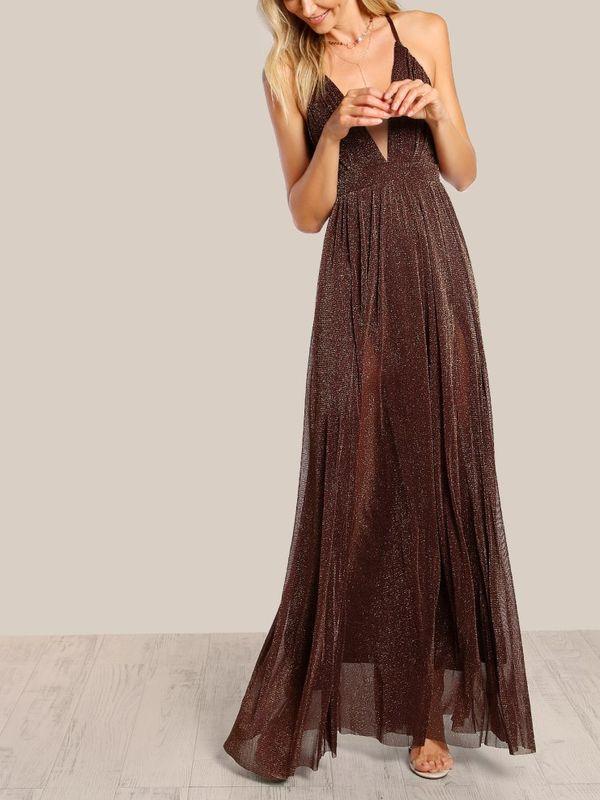 915178c7 Bling Spaghetti Strap Glitter Overlay Maxi Dress