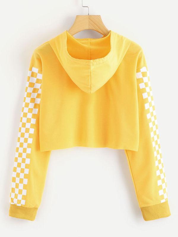 Boho Contrast Checkered Sleeve Crop Hoodie