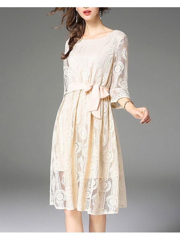 c3b3ff92c0 Classy Apricot Flare Sleeve Lace Dress