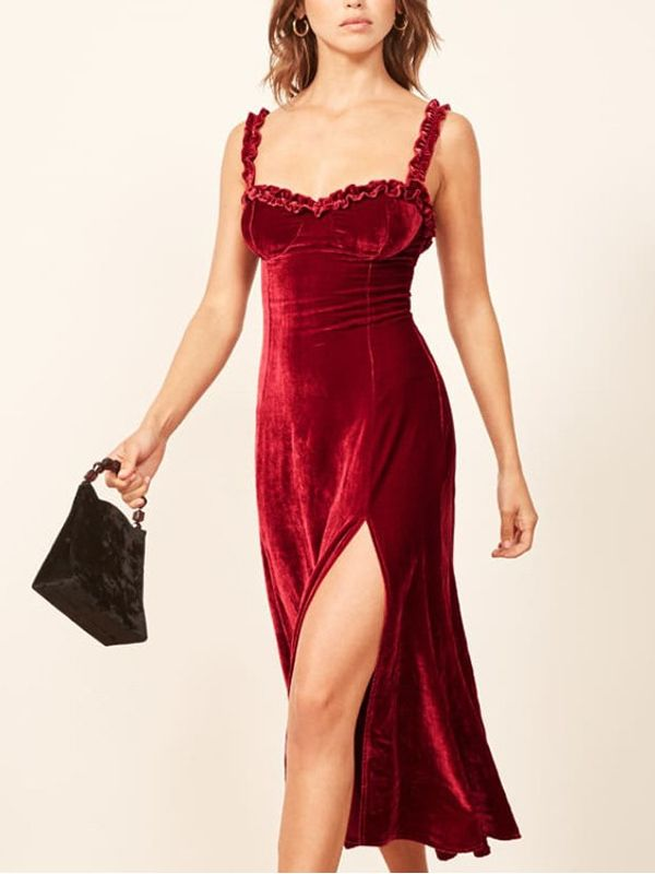 a911b6e31520 Classy Deep V Neck Split Velvet Sleeveless Dress