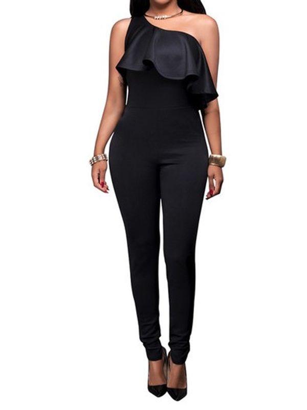 87b7becea71c Classy One Shoulder Ruffle Design Black Jumpsuit