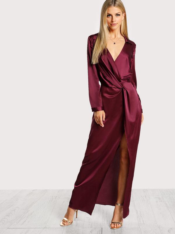 Classy Satin Front Twist Wrap Dress