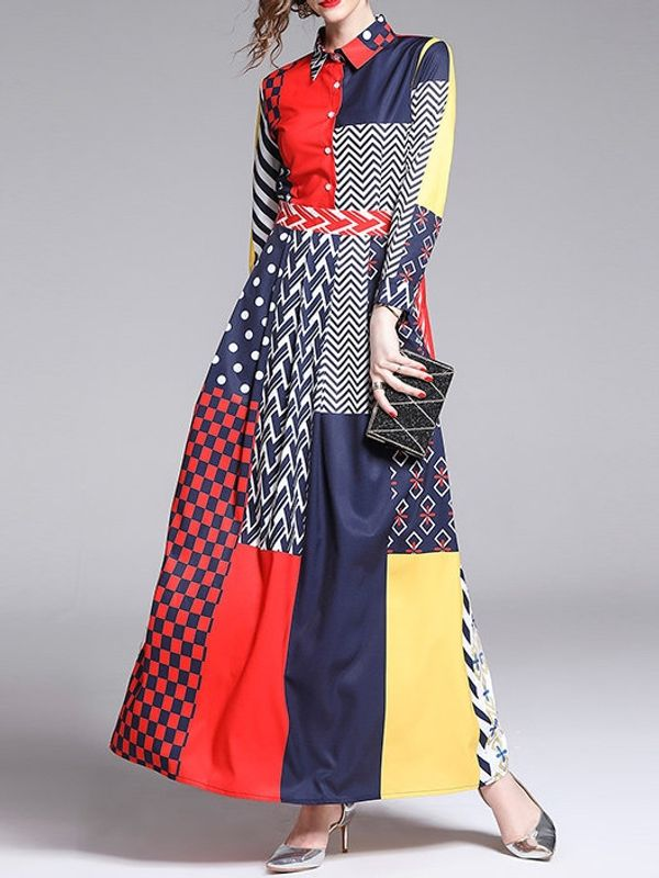 dc5fede0f1527 Home · Contrast Color Printed Long Sleeve Maxi Dress. Rs.200 Instant  cashback on payment by PayPal. Zoom · Contrast ...