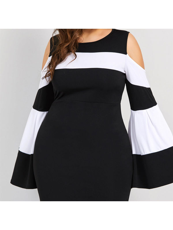 b7dfffe57a5 Contrasting Color Flare Sleeve Plus Size Black Maxi Dress