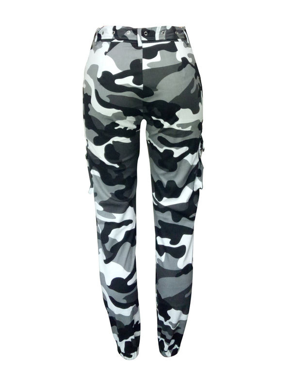 6210e4bb Cool Boho Black & White Camouflage Mid Waist Pants