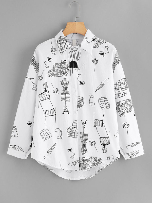 519fd17b07d Cool Fashionista Monochrome Graphic Print Shirt -Also in Plus Size