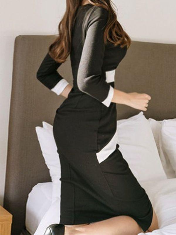 122fbb47dc Cosmopolitan Black   White Sharp Office Formal Wear Slick Pencil Dress with  Contrast Belt